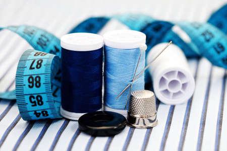 kit de costura: acercamientos de material de costura
