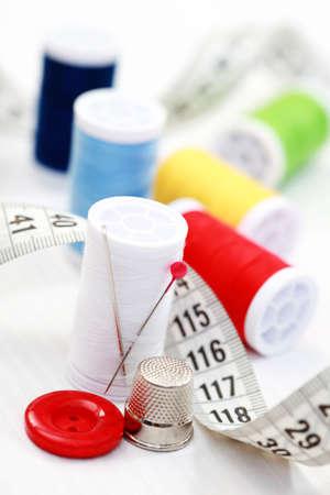 centimetres: close-ups of sewing stuff Stock Photo