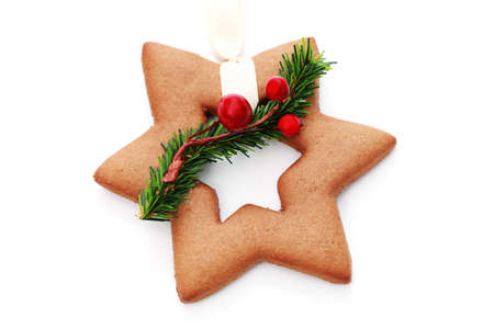 gingerbread star on white background - sweet food Stock Photo - 6344302
