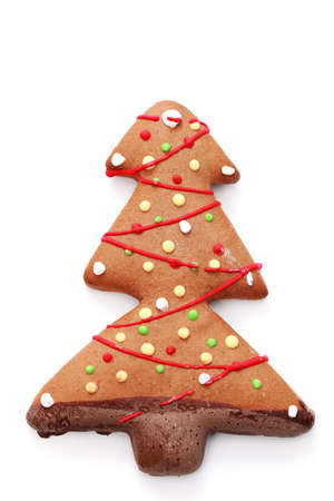gingerbread Christmas tree on white background - sweet food Stock Photo - 6344346