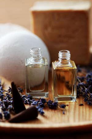 bottle of lavender aromatherapy oil - beauty treatment photo