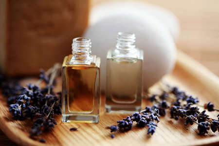 bottle of lavender aromatherapy oil - beauty treatment Stock Photo - 6770074