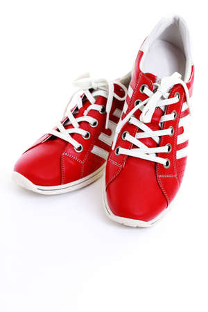 closeups: close-ups of casual red leather shoes Stock Photo