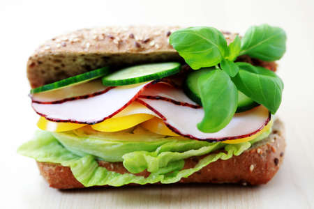 delicious sandwich with ham and vegetables - food and drink photo