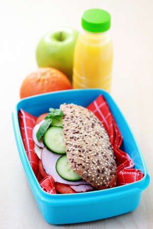 lunch box: lunch box with delicious sandwich and fruits - food and drink