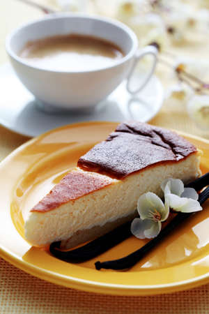 coffee and cake: delicious cheesecake with vanilla - sweet food