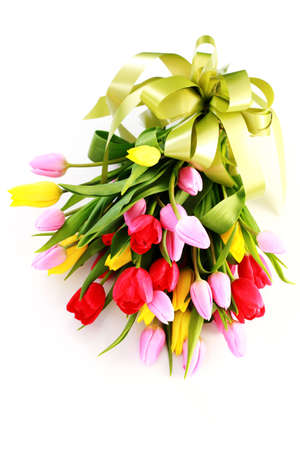 bouquet of lovely tulips on white background - flowers Stock Photo - 6803208