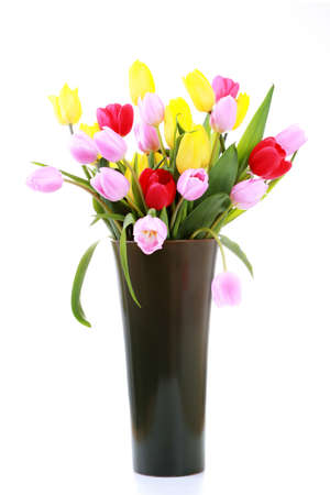vase full of colorful tulips - flowers and plants Stock Photo - 6803214