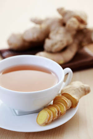 herbal tea: cup of ginger tea - food and drink