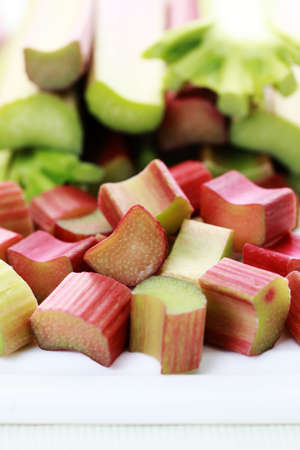 close-ups of fresh rhubarb - fruits and vegetables photo