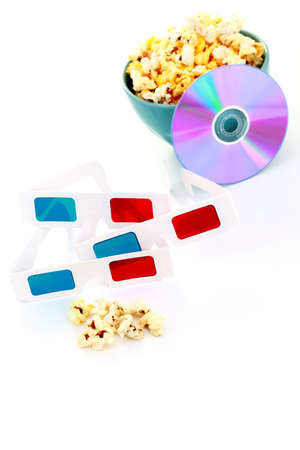 3-d glasses on white - fun and entertainment photo