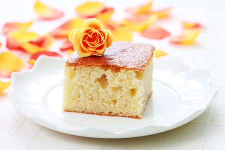 plate of delicious vanilla cake - sweet food