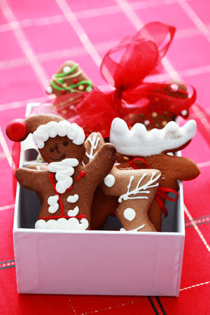 box full of Christmas gingerbreads - sweet food photo