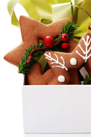 box full of Christmas gingerbreads - sweet food Stock Photo - 7566665