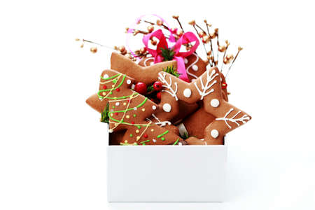 box full of Christmas gingerbreads - sweet food Stock Photo - 7566657