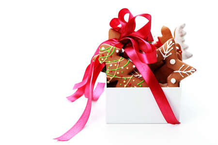 box full of Christmas gingerbreads - sweet food Stock Photo - 7566669