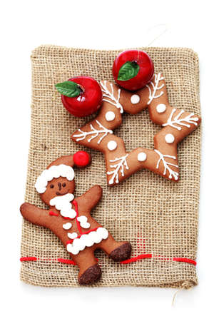 Christmas gingerbread star with red apple - sweet food Stock Photo - 7566869