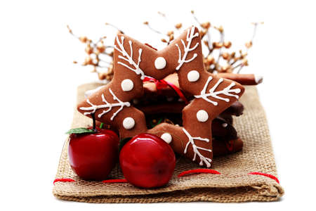Christmas gingerbread star with red apple - sweet food Stock Photo - 7566644