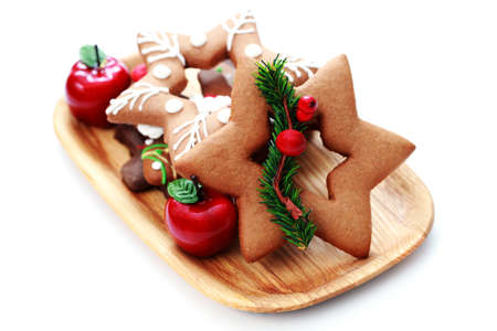 plate full of Christmas gingerbreads - sweet food Stock Photo - 7566651