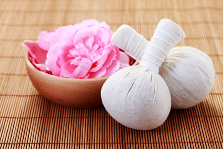 massage stamps with dry roses - beauty treatment
