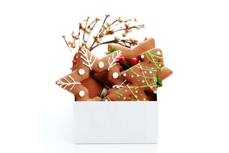 box full of Christmas gingerbreads - sweet food Stock Photo - 7742215