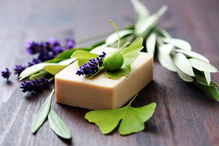 soap bar: bar of herbal soap with fresh herbs and olives - beauty treatment Stock Photo