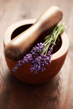 close-ups of lavender with mortar and pestle - beauty treatment photo
