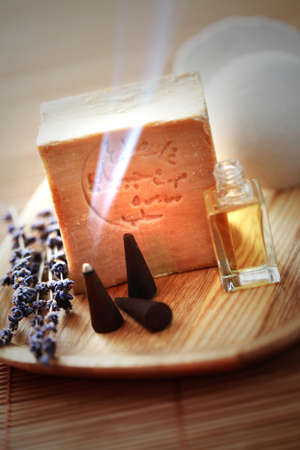 natural soap: natural soap with aromatic massage oil - beauty treatment