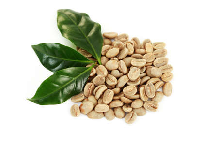 green coffee beans on white background - coffee beans Stock Photo