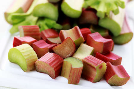 rhubarb: close-ups of fresh rhubarb - fruits and vegetables Stock Photo