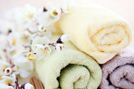toalla: Toallas suaves y frescas con flores - tratamiento de belleza
