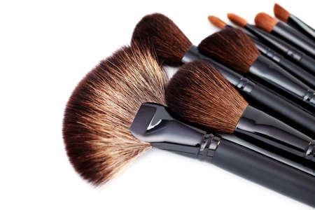 make-up brushes isolated on white background - beauty treatment photo