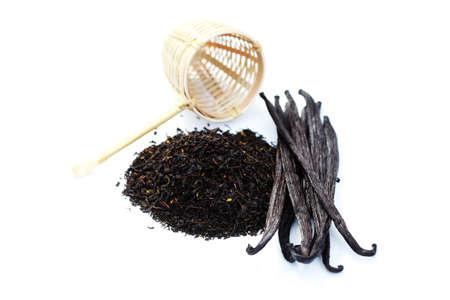 pile of vanilla tea with fresh vanilla beans - tea time Stock Photo - 8032487