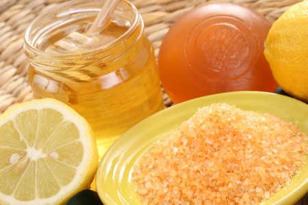 bar of gliceryne soap jar of honey and lemon - natural bath Stock Photo - 8134965