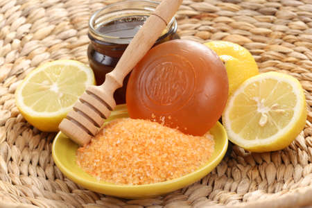 bar of gliceryne soap and jar of honey and lemon - natural bath Stock Photo - 8135028