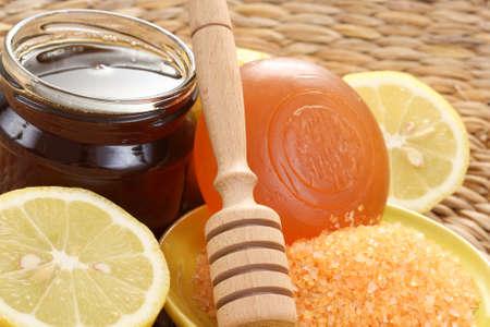 bar of gliceryne soap and jar of honey and lemon - natural bath Stock Photo - 8134990