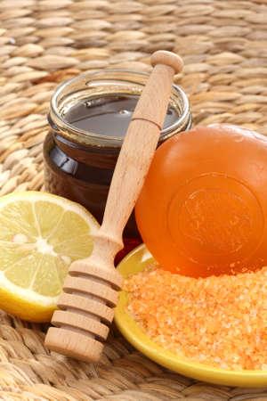bar of gliceryne soap and jar of honey and lemon - natural bath Stock Photo - 8135013
