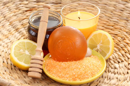 bar of gliceryne soap and jar of honey and lemon - natural bath Stock Photo - 8134976