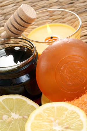 bar of gliceryne soap and jar of honey and lemon - natural bath Stock Photo - 8134957