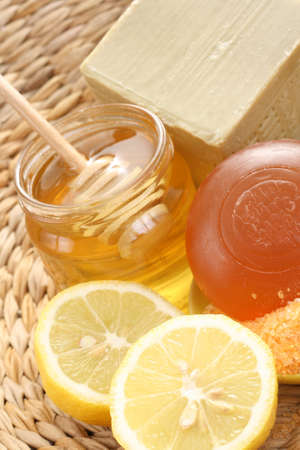 bar of gliceryne soap jar of honey and lemon - natural bath Stock Photo - 8134953