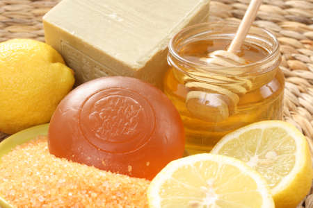 bar of gliceryne soap jar of honey and lemon - natural bath Stock Photo - 8134980