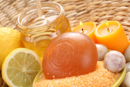 bar of gliceryne soap jar of honey and lemon - natural bath Stock Photo - 8134963