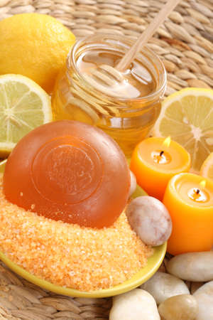 bar of gliceryne soap jar of honey and lemon - natural bath Stock Photo - 8134994