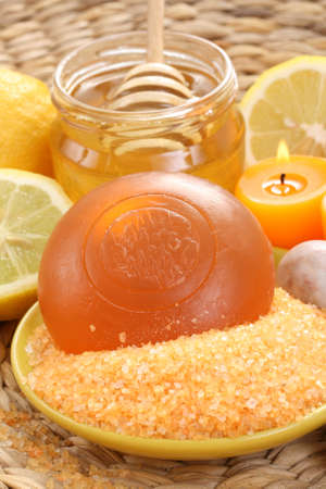 bar of gliceryne soap jar of honey and lemon - natural bath Stock Photo - 8134981