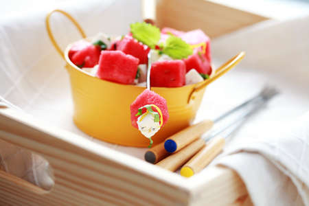 bowl of watermelon and feta salad - food and drink photo