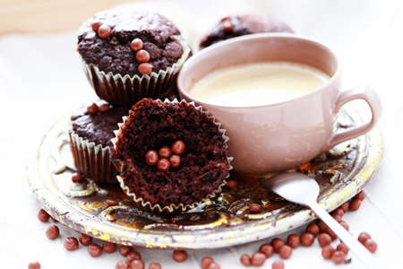 plate full of chocolate delicious muffin and cup of coffee - sweet food photo