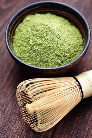 sencha: green powder tea with bamboo whisk - tea time