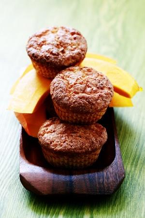 delicious pumpkin muffins with fresh pumpkin - sweet food photo