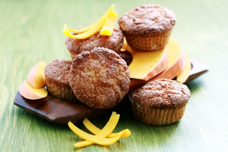 patty cake: delicious pumpkin muffins with fresh pumpkin - sweet food Stock Photo