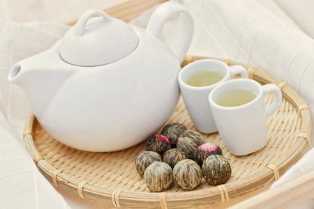 tea pot and cup of green tea - tea time Stock Photo - 8684888
